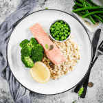 Lean + Tone Poached Salmon, Greens & Rice