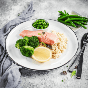 Lean + Tone Poached Salmon, Greens & Rice