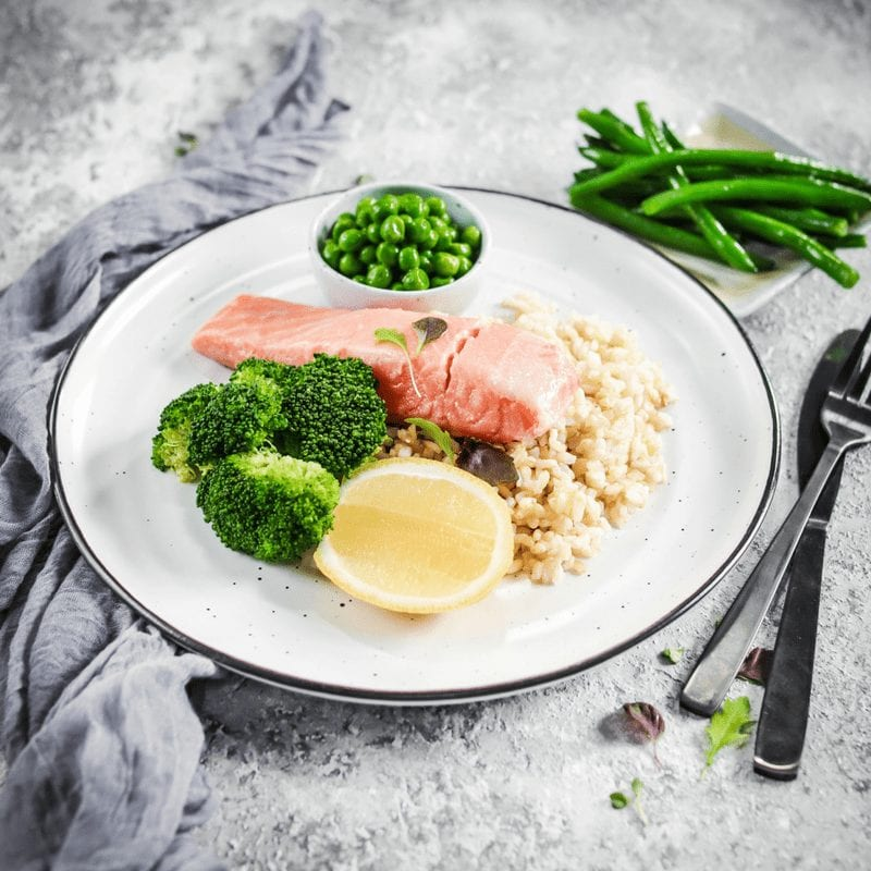 Muscle Meals Lean + Tone Poached Salmon, Greens & Rice