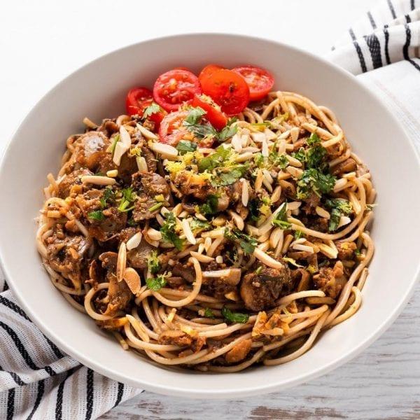 Mushroom & Almond Spaghetti-22