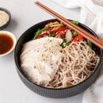 POACHED CHICKEN SOBA NOODLES bowl