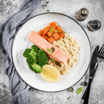 Poached Salmon, Greens + Rice -03
