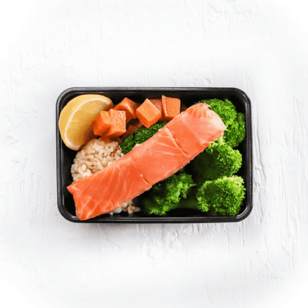Poached Salmon, Greens + Rice