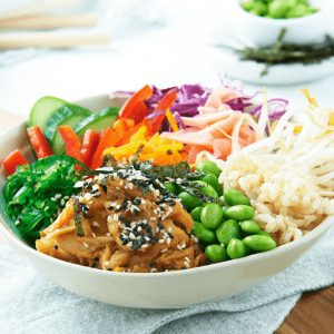 Poached Salmon Poke Bowl